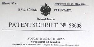 Patentschrift von August Musger